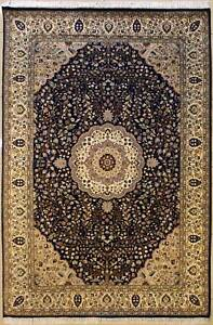 Rugstc 6x9 Senneh Pak Persian Blue Area Rug, Hand-Knotted,Floral with Silk/Wool