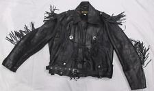 Vintage METACO FRINGED Black LEATHER MOTORCYCLE Jacket, Men's Size 44, NICE ~EUC