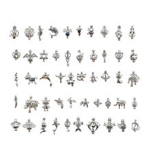 Mixed Style White K Plated Alloy Hollow Beads Cage Locket Charms Pendants 50pcs