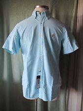 Men's Ralph Lauren Light Blue 100% Cotton SS Classic Fit Dress Shirt NWT $85 M