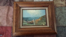 Vintage Framed Original Painting of a Row Boat on Beach w/ Seagulls & Ocean