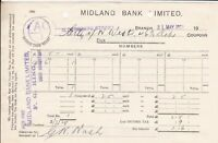 MIDLAND BANK LIMITED 1928 N. West Coupons Per Pro Cancelled Receipt Ref 45975