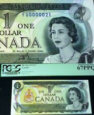 LOW SERIAL NUMBER # 21  BANK OF CANADA $1 1973 BANKNOTE PCGS 67 PPQ