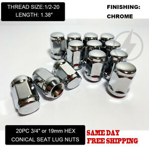 FIT LINCOLN MKS TOWN CAR AVIATOR MKT MKX 1.38'' ACORN LUG NUTS 1/2-20 CHROME 20