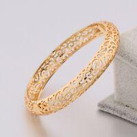 New 18K Multi-Tone Gold Cuff Bracelet Shining White Sapphire Charms Women Bangle