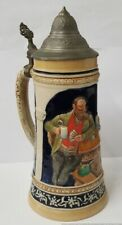 Reinhold Merkelbach German 1 Liter 3956 Pub Card Player Beer Stein Pewter Lid