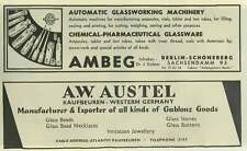 1953 A W Austell Manufacture And Export Of Glass Goods Ad