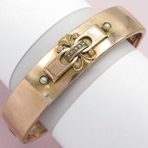 Antique Victorian Rose Gold Filled GF Seed Pearl Bangle Bracelet