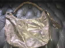 Michael Kors Metallic Hobo Satchel Purse Bag Fringe Chain Gold Silvery Leather