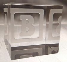 New STEUBEN Glass BABY BLOCK LETTER B | rare collectible crystal paperweight