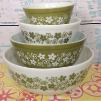 Pyrex Spring Blossom 401 402 403 404 Bowl Green Floral White Glass Mixing Vtg