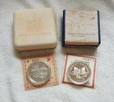 1985, 1989 Singapore $5 Silver Proof Coin - SMRT Train, Public Housing