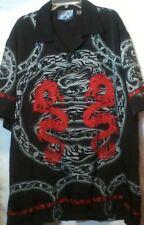 Sapphire Lounge Dragon Mens Shirt Short Sleeve Button Front Size Large