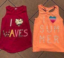 Crazy 8 Gymboree I Love Waves I Heart Summer Tank Tops Shirts Pink Peach 10 12