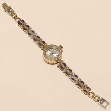 Purple Zircon White Topaz Wrist Watch 925Sterling Silver Engagement Fine Jewelry