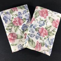 Vintage Wamsutta Pillowcases set of 2  Floral Pink Purple Flowers Shabby Chic