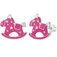 Rhodium Plated Screw Back Fuchsia Hot Pink Enamel Rocking Horse Girls Earrings
