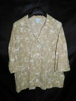 Liz & Me 2X Light Brown White Print Shirt 3/4 Sleeve V Neck Lightweight Cotton