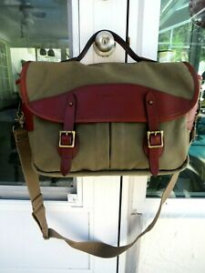BOYT HARNESS CO. IOWA -HUNTING & SPORTING- LEATHER TRIMMED CANVAS BRIEFCASE