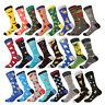 men's socks business dress long socks cotton funny chips car pizza dog crew sock