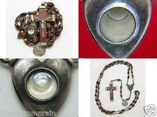 """† SCARCE VINTAGE """"LOURDES HEALING RELIC"""" WATER INTACT BROWN AGATE GLASS ROSARY †"""