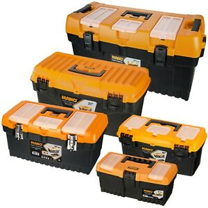 Large Plastic Toolboxes Chest Lockable Lid Removable Storage Compartment Inserts