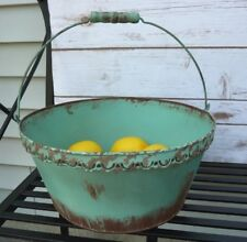 Metal Tin Distressed Pail Bucket Basket Shabby Country Cottage Farm House Rustic
