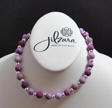 Jilzara Lilac Girls Petite Silverball Polymer Clay Bead Stretch Necklace Artisan