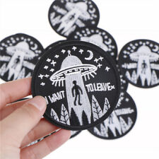 i want to leave ufo alien badges patch embroidered applique sewing patches EP