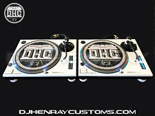 2 custom White &black Technics SL1200 mk2's blue halos & pitch leds powder coat