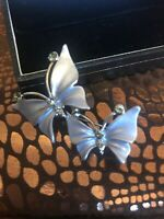 Vintage Silver Tone Diamante Double Butterfly Brooch