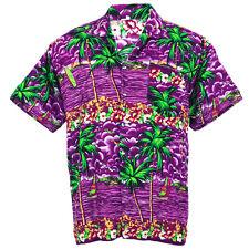 Hawaiian Shirt Aloha Ship Coconut Sea View Holiday Casual Purple XXL hf256v