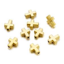 20pcs Tibetan Alloy Cross Metal Beads Smooth Gold Tone Tiny Loose Spacer 15x12mm