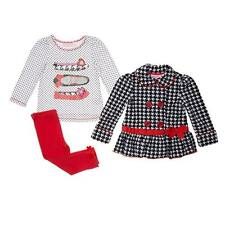 Kids Headquarters 3-pc girls houndstooth outfit fleece coat leggings set  2T NWT