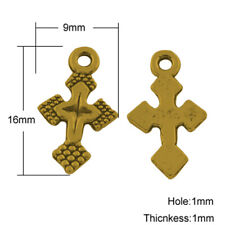 6 Cross Charms Antiqued Gold Cross Pendants Christian Catholic Religious 16mm