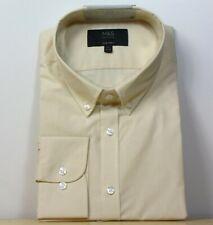 "M&s Tailored Fit Knopf Kragen Langarm Shirt ~ Gr. 17.5"" ~ Gelb Mix"