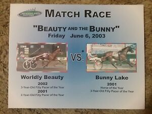 RARE Harness Racing Poster - Worldly Beauty vs Bunny Lake Meadowlands Match Race