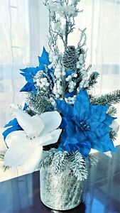 Beautiful Christmas Silk Floral Arrangement - Blue and White - Handmade