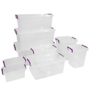 Plastic Storage Box Boxes Lid Handles Food Container Home Kitchen Office Box UK