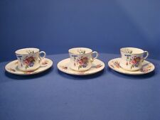 ANTIQUE RARE CAULDON CHINA, CIRCA 1910, 3 WAISTED CABINET CUPS AND SUACERS