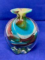 VINTAGE MDINA c. 1970s* MICHAEL HARRIS TIGERS EYE ART GLASS VASE