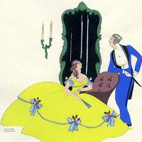 1930s French Pochoir Print Edouard Halouze Art Deco Victorian Couple Courtship