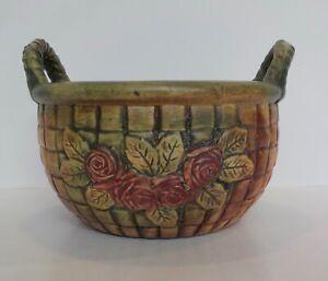 Vintage Weller Arts & Crafts Pottery Matte Green FLEMISH Basket Vase Roses Old