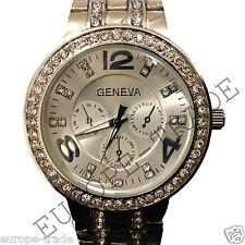 Para Mujer Ronda Reloj Ladies Fashion Plateado Diseñador Estilo Crystal del Reino Unido de Ginebra