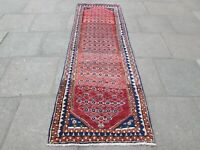 Old Traditional Hand Made Persian Oriental Red Wool Short Runner 264x89cm