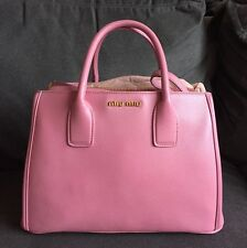 Miu Miu Madras Pink Leather Designer Tote Shoulder Handbag
