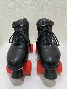 """Vintage 80s """"RIEDELL"""" Aerobiskate SureGrip Roller Skates Black Men's Size 10.!!"""