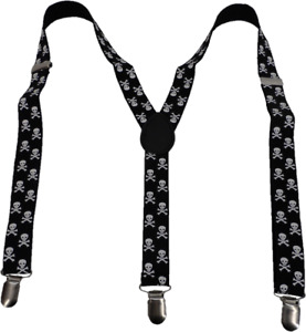 Mazeys Mens 3 Clip One Inch Black Scull Braces