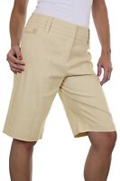 NEW (1373-2) Smart Casual Washable Linen Mix Tailored Shorts Beige sizes 8 10