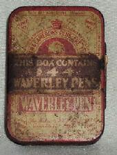 OLD VERY RARE VINTAGE ADVERTISEMENT TIN BOX WAVERLEY PEN NIBS COLLECTORS ITEM #!
